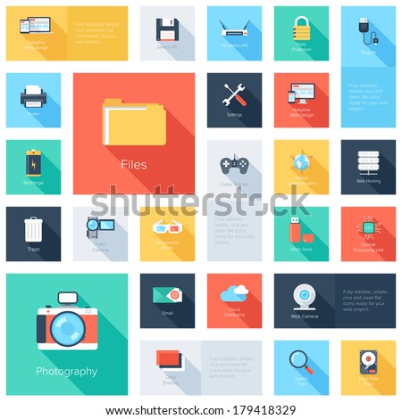 Vector collection of colorful flat technology and multimedia icons with long shadow. Design elements for mobile and web applications. - stock vector