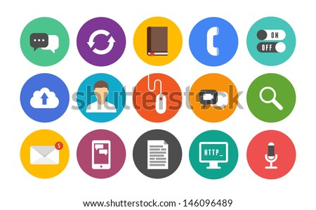 Vector collection of colorful icons in modern flat design style on communication and mobile connection theme. Isolated in colored circle on white background. - stock vector