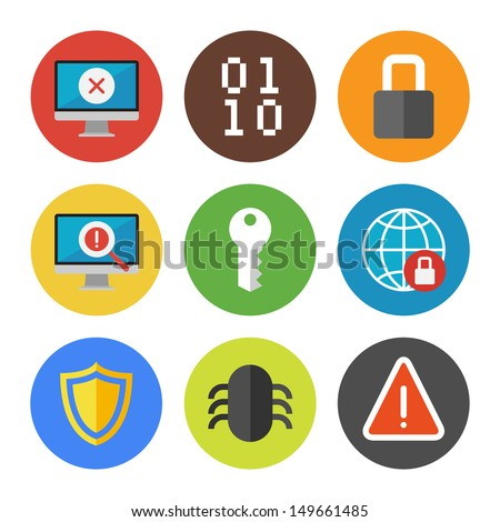 Vector collection of colorful icons in modern flat design style on internet security theme. Isolated on white background.  - stock vector