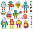 Vector Collection of Colorful Retro Robots - stock vector