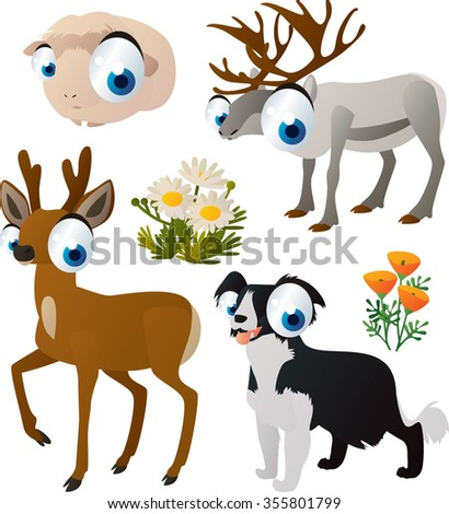vector collection of comic cartoon styled animals for children. Set of Guinea pig, reindeer, roe deer, collie dog.  - stock vector