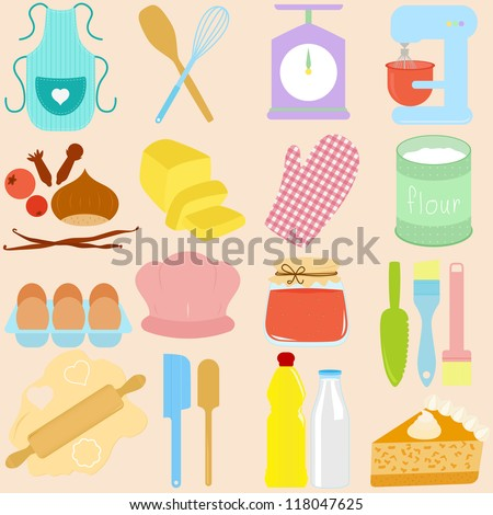 Vector collection of Cooking, Baking Tools in Pastel - stock vector