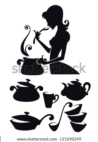 vector collection of cooking equipment and food symbols, and image of woman tasting homemade meal - stock vector