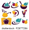 vector collection of cooking symbols and icons for your menu - stock vector