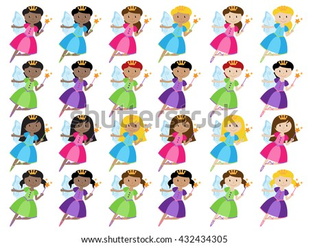 Vector Collection of Cute and Ethnically Diverse Fairies - stock vector