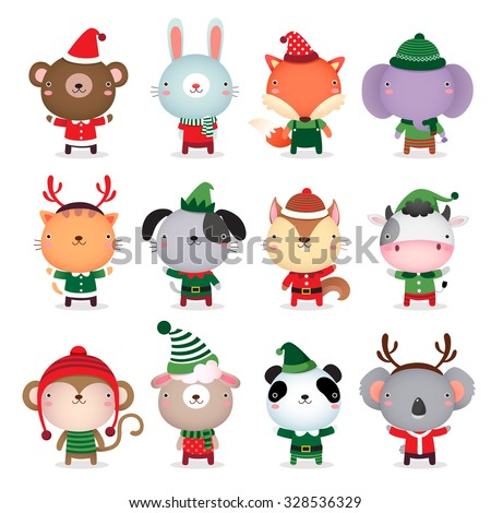 Vector collection of cute animals design with Christmas and winter theme costumes - stock vector