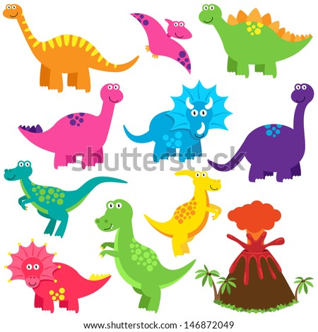 Vector Collection of Cute Cartoon Dinosaurs and a Volcano - stock vector