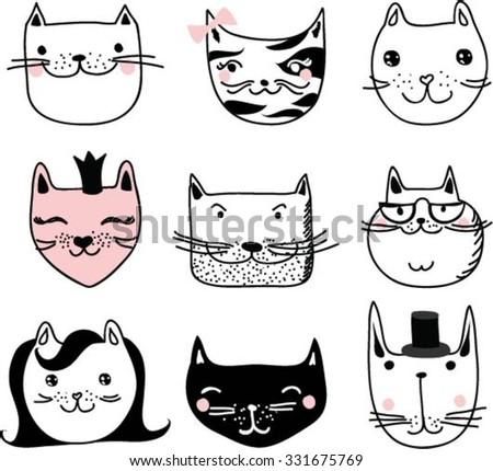 Vector Collection of Cute Cartoon Doodle Cats - stock vector