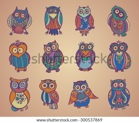 Vector collection of cute colorful owls. Hand drawn graphic style