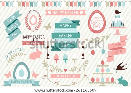 Vector collection of cute retro icons for easter design. Happy Easter Day. Easter design elements - stock vector