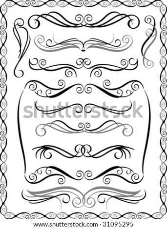 Vector collection #2 of decorative border elements. - stock vector