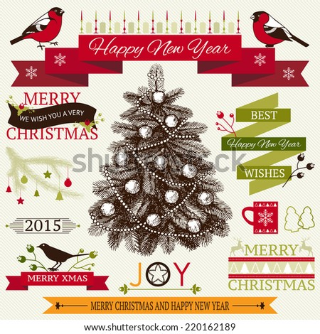 Vector collection of decorative Christmas and New year's elements and ink hand drawn illustrations for holiday greeting card or invitation design. Christmas tree.