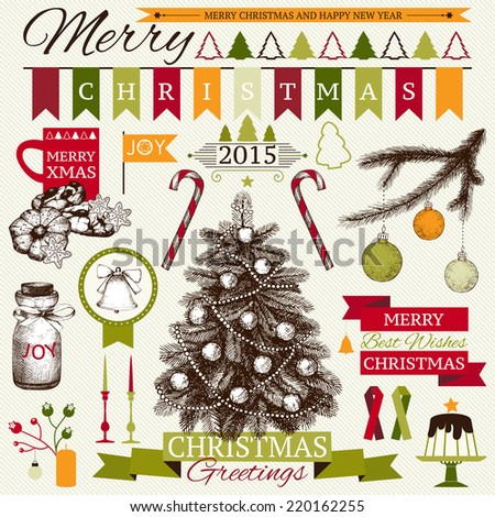 Vector collection of decorative Christmas and New year's elements and ink hand drawn illustrations for holiday greeting card or invitation design. Christmas tree. - stock vector