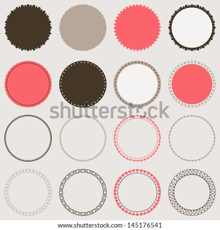 Vector collection of decorative circle frames. Design elements. - stock vector