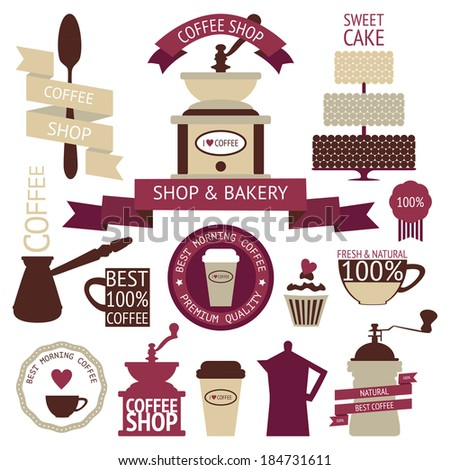 Vector collection of decorative coffee icons. Retro coffee silhouettes on white  background - stock vector