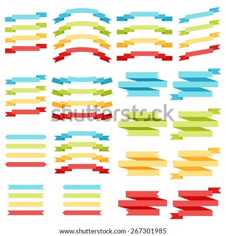 vector collection of decorative design elements - colorful ribbons and labels eps 10
