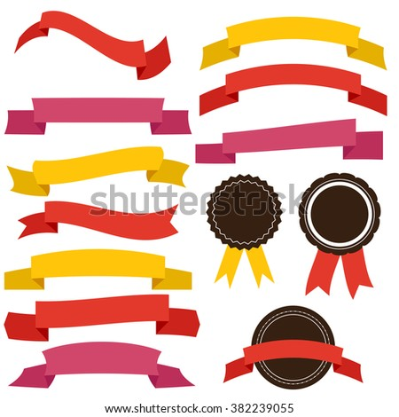 Vector collection of decorative design elements - ribbons, labels.