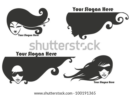 vector collection of decorative girl's silhouettes - stock vector