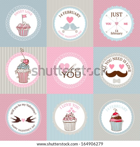Vector collection of decorative hand drawn sweet cupcakes illustrations for valentines day design. - stock vector