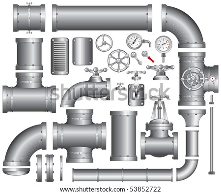Vector Collection of detailed Construction Pieces: pipes, fittings, gate valve, faucet, ells ... SIMILAR IMAGES SEE AT MY GALLERY - stock vector