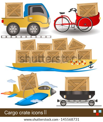 Vector collection of different cargo crates along with transport - shipping icons. - stock vector
