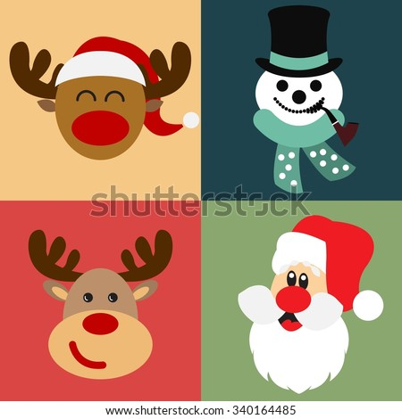 Vector collection of different Christmas figures / Santa Claus, Reindeer, Snowman / Christmas vector illustration set - stock vector