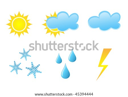 Vector collection of different glossy  weather icons on white background - stock vector