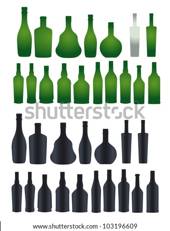Vector collection of different silhouette bottles - stock vector