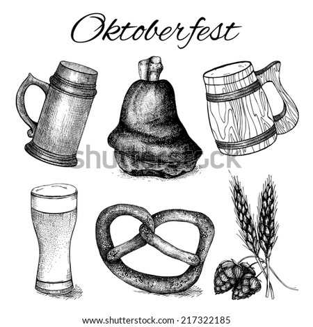 Vector collection of different traditional food in retro style for Oktoberfest. Vintage set of black ink hand drawn food illustration isolated on white. Big festival - Oktoberfest - in Germany - stock vector