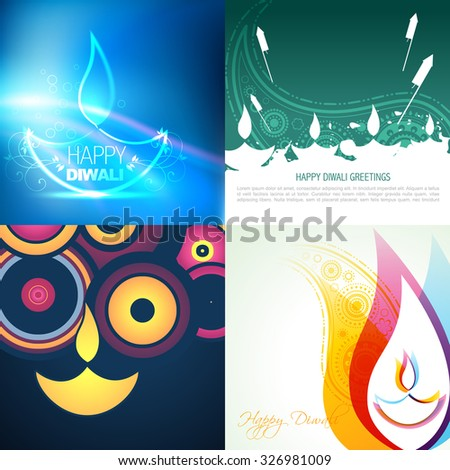 vector collection of different types of diwali diya background illustration  - stock vector