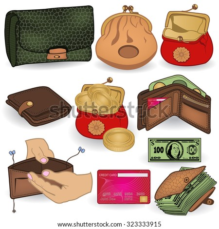 Vector collection of different wallet colored icons. - stock vector