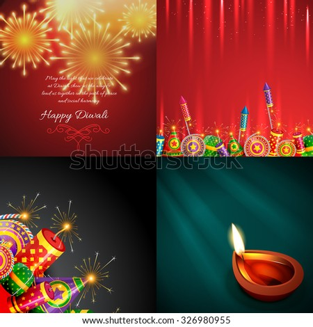 vector collection of diwali background with beautiful diya and crackers illustration - stock vector
