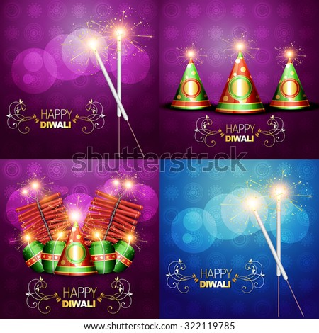 vector collection of diwali festival background illustration with crackers - stock vector