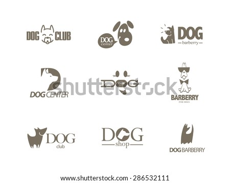 Vector collection of dog logo. Logo for pet club or shop, doggy center or barberry, sport dog club, veterinary clinic. Cute dog icons set. Flat logo design. Also may be used for hunting club emblem.