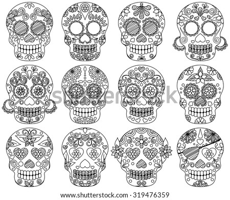 Vector Collection of Doodle Day of the Dead Skulls or Sugar Skulls - stock vector