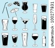 Vector Collection of Drinks and Glasses - stock photo