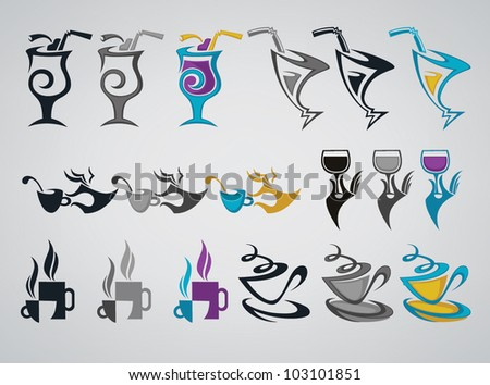 vector collection of drinks symbols alcohol and nonalcoholic, color and monochrome variations - stock vector