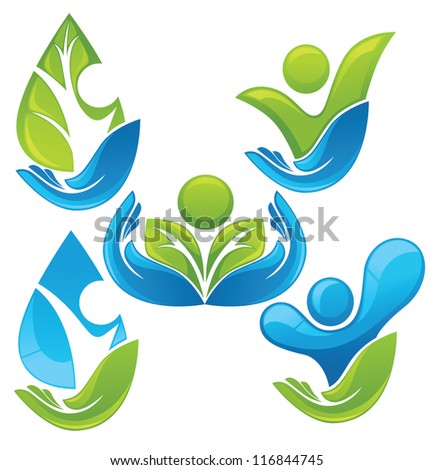 vector collection of ecological people - stock vector