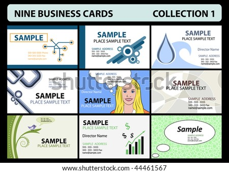 Vector collection of 9 editable designs of business card - stock vector