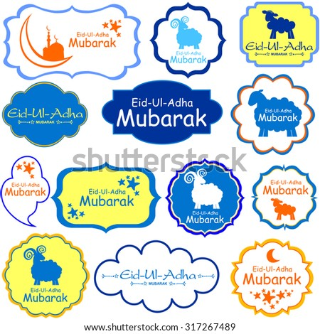 vector collection of Eid-Ul-Adha labels. Greeting tags for Muslim Festival of Sacrifice Eid-Ul-Adha with sheep. - stock vector