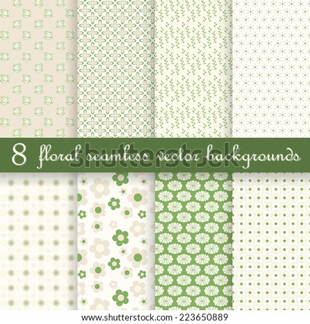 vector collection of eight seamless floral backgrounds - stock vector