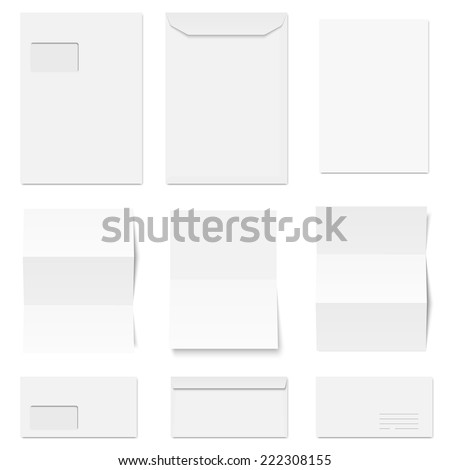 vector - collection of envelopes and writing paper - stock vector