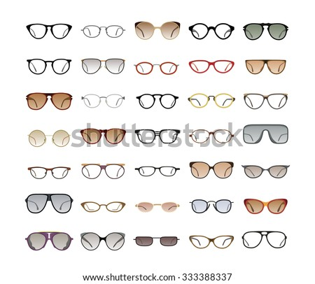 Vector Collection Eyeglasses Sunglasses Different Frames Stock ...