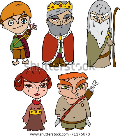 vector collection of fairy-tale characters - stock vector
