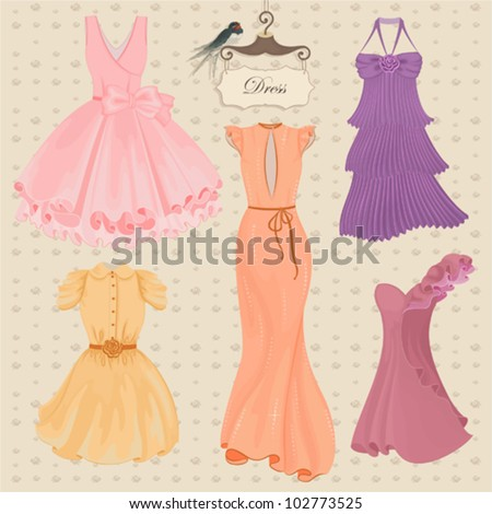 Vector collection of fashionable elegant dresses for girl - stock vector