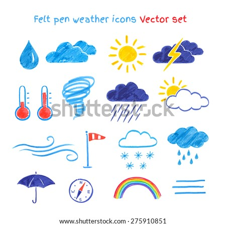 Vector collection of felt pen child drawings of weather symbols. - stock vector