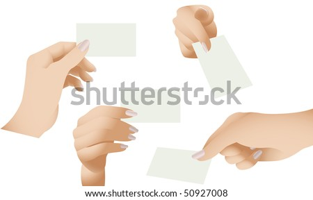 Vector Collection of Female Hands Holding Blank Cards - stock vector