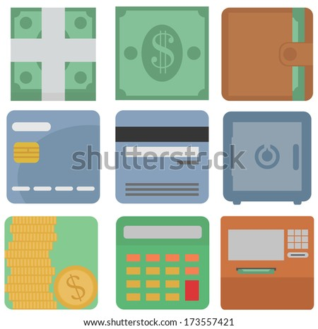 vector collection of finance icons: dollars, cash, wallet, card, safe, atm machine, coins, calculator round edges square icon isolated set on white background - stock vector
