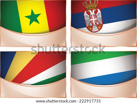 Vector collection of flags, four banner flags illustration, Senegal, Serbia, Seychelles, Sierra Leone - stock vector