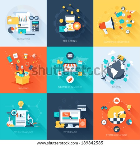 Vector collection of flat and colorful business and finance concepts with long shadow. Design elements for web and mobile applications. - stock vector